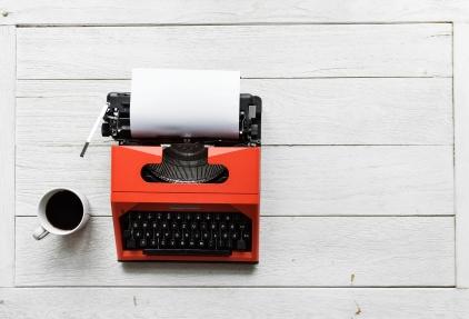 Aerial view of retro typewriter